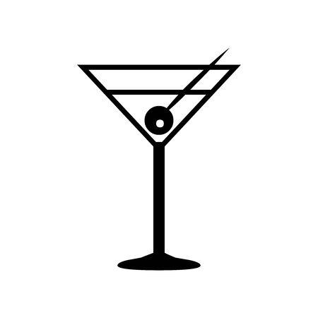 Black cocktail symbol for banner, general design print and websites. Illustration vector.