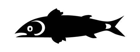 Black Fish symbol for banner, general design print and websites. Illustration vector. 일러스트
