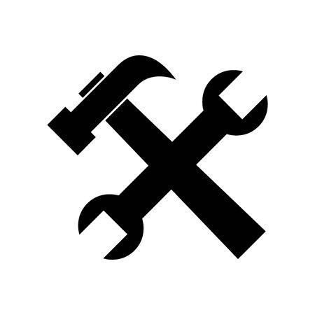 Czarny symbol usługi naprawy i narzędzia do banerów, ogólnego druku i stron internetowych. Wektor. Ilustracje wektorowe