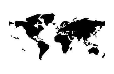 Black World Map symbol for banner, general design print and websites. Illustration vector. 일러스트