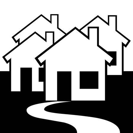 Black Village symbol for banner, general design print and websites. Illustration vector. 일러스트