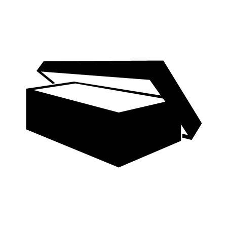 Black open box symbol for banner, general design print and websites. Illustration vector.