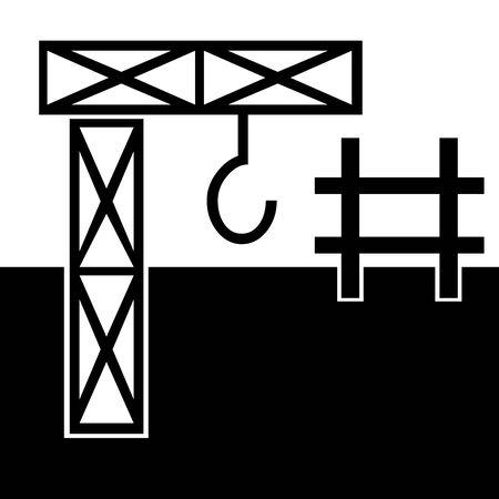 Black Construction symbol for banner, general design print and websites. Illustration vector. Ilustração