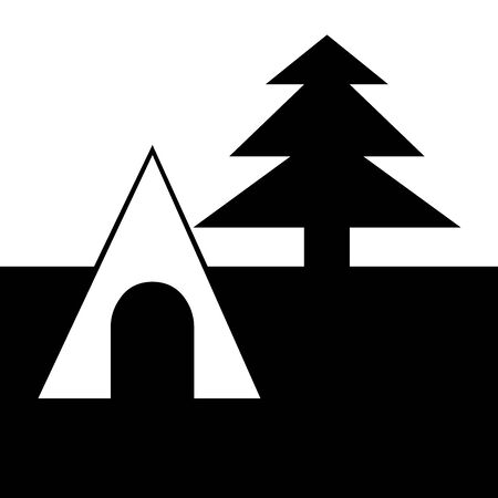 Black Camping symbol for banner, general design print and websites. Illustration vector. 스톡 콘텐츠 - 138986884