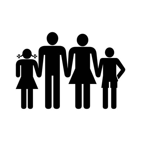 Black family symbol for banner, general design print and websites. Illustration vector.  イラスト・ベクター素材
