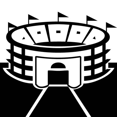 Black Stadium symbol for banner, general design print and websites. Illustration vector. 스톡 콘텐츠 - 138986892