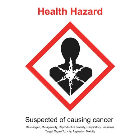 Pictogram mean suspected of causing cancer. Pictogram on product label harmful suspected may be causes by Carcinogen, Respiratory sensitiser, Reproductive toxicity. Illustration healthcare and medicine.