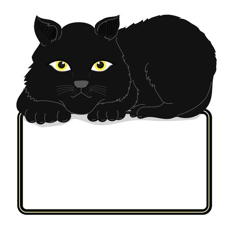 Cat Illustration clipart. The big black cat was sitting on the frame. It has completely black fur. And yellow eyes. The frame has space for text. Hand draw art.