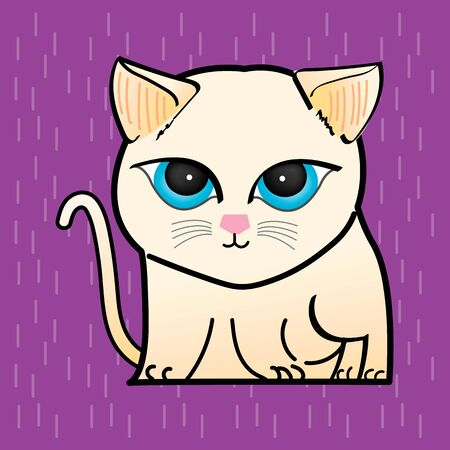 Cat Illustration clipart. A light coloured cat has a round blue eyes. It is on a purple background. Hand draw art.
