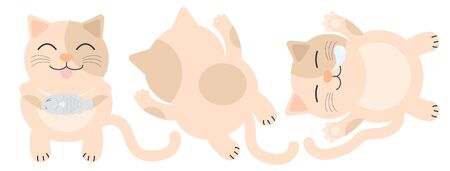 Orange fat cat has a dot on the face. He was glad to eat fish. Fat cats lie face down. Fat cat sleeps. clipart graphic for online or print. Illustration