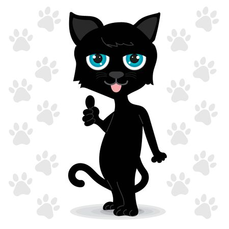 Black cat with blue eyes standing. It made wonderfully symbolic hands. White background with gray cat footprints. clipart graphic for online or print.