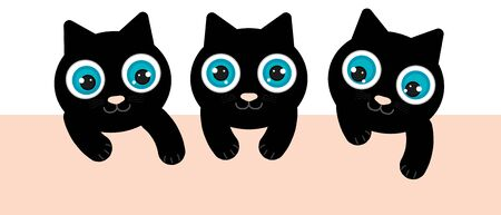 3 black kittens have blue eyes. They are playing and looking down. There is a light orange space. clipart graphic for online or print. Illustration
