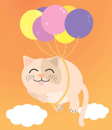 A Fat cat floating in the orange sky. There are purple and yellow balloons tied to the smiling cat. Illustration vector.