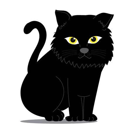 Cat Illustration clipart. A black cat is sitting facing her. It has yellow eyes that look mysterious. It is on a white background. Hand draw art. Illustration