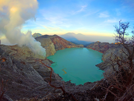 Kawah Ijen, sulfur lake in volcanic crater in East Java, Indonesia