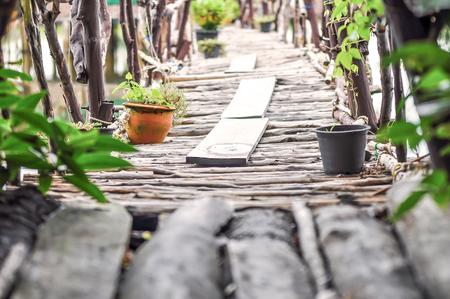 Wood Bridge way walk and flowerpot at beside  looking classic