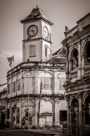 Chino-protuguese clock tower in phuket old town, Thailand