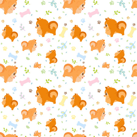 Vector seamless pattern with cute cartoon dog breed pomeranian with paws, leaves and bones. It can be print and used as wallpaper, packaging, wrapping paper, fabric and etc.Cartoon doodle style. Illustration