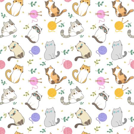Ilustración de vector, patrón sin costuras de gatos, diferentes tipos de gato de dibujos animados lindo sobre fondo blanco. Se puede imprimir y utilizar como papel tapiz, embalaje, papel de regalo, tela, etc.