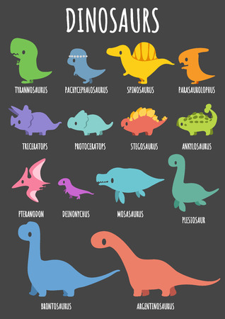 Set of colorful cute dinosaurs character with lettering. Vector illustration.