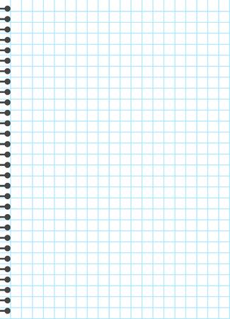 Plantilla de papel rayado en blanco, una página, cuaderno y libro de ejercicios, ilustración vectorial. Ilustración de vector