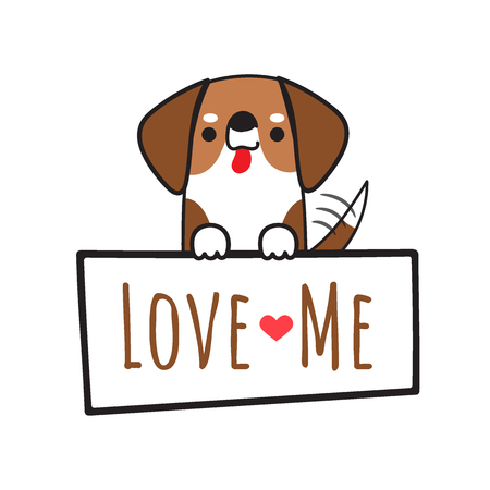 Dog vector fox hound illustration holding board with write love me isolated on white background.Cartoon doodle style.