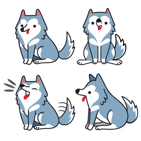 Det of siberian husky dog in different poses.Vector illustration, Cartoon doodle style.