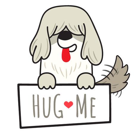 書き込みとボードを保持している犬の古い英語の羊犬のイラストは、白い背景に孤立した私を抱きしめる。漫画の落書きスタイル。 写真素材 - 109590674