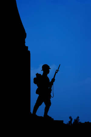 Soldier Sculpture at Victory Monument, Bangkok, Thailand Stock Photo