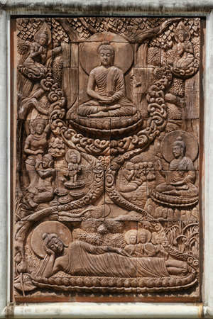 Buddish art, in wooden high relief