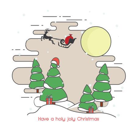 winter tree: Santa on Sleigh and his Reindeers Winter Christmas Tree Illustration
