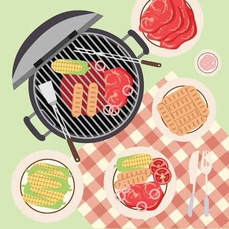 summer picnic: Summer Picnic Barbecue and Grilled Food