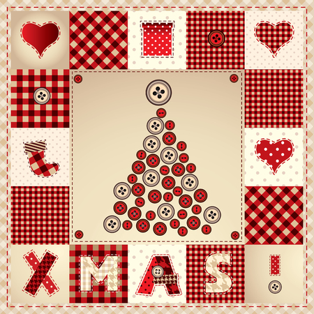 Card Merry Christmas with Christmas tree in patchwork style Vector