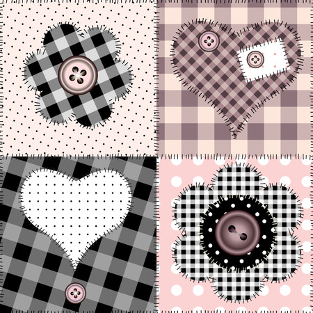 Seamless pink patchwork with hearts. Vector