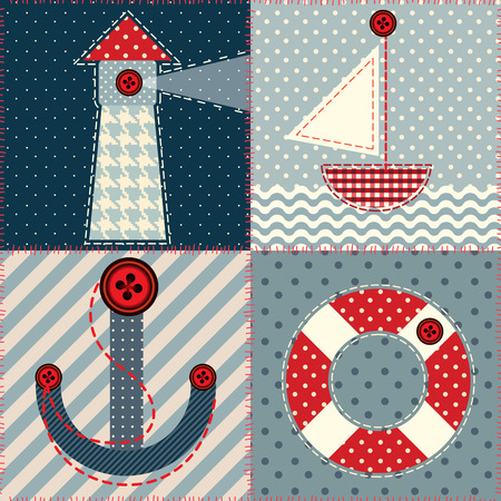 Seamless background pattern. Patchwork squares in a marine style
