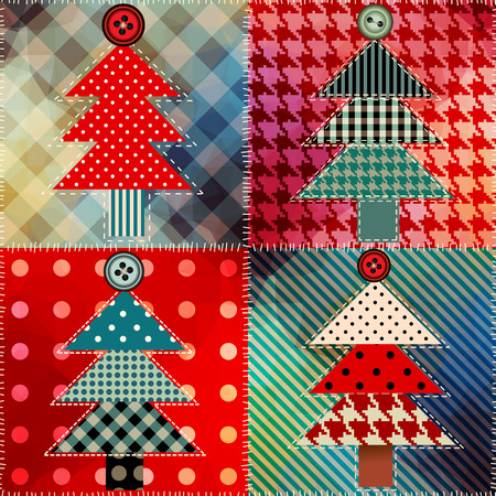 Seamless background pattern. Patchwork with the Christmas tree.