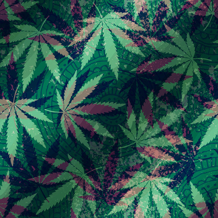 Seamless pattern with hemp leaves and ethnic ornament. Vector