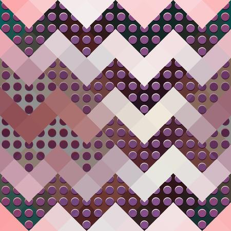 Seamless background pattern. Chevron geometric pattern on pink pixels.
