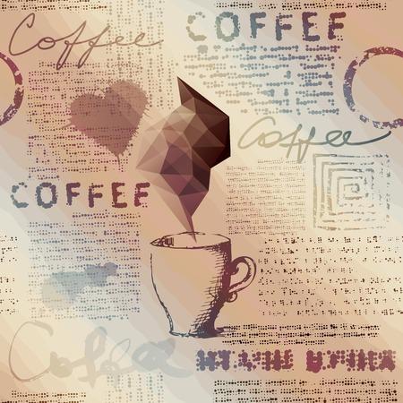 シームレスな背景パターン。一杯のコーヒーと新聞  イラスト・ベクター素材