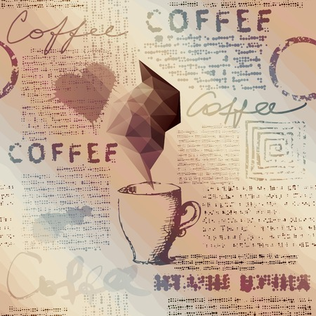 Seamless background pattern. Newspaper with the cup of coffee Illustration
