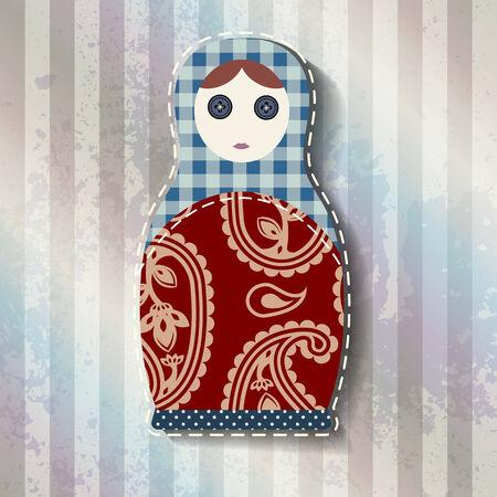 matrioska: Matryoshka doll in patchwork style with grunge effect.
