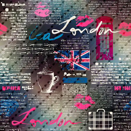 Seamless background pattern. Collage of grunge newspaper London with raindrops and bad weather