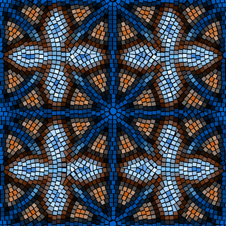 vitrage: Seamless background pattern. Blue mosaic geometric spattern.