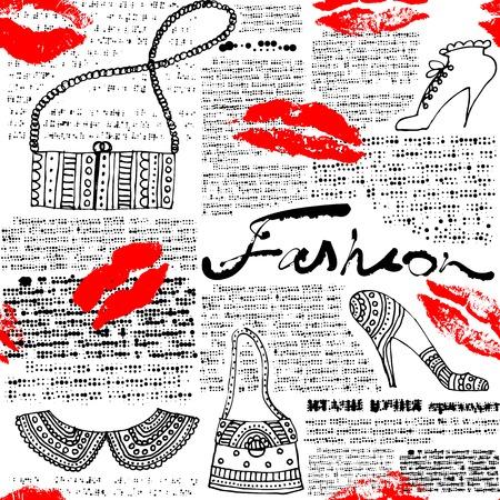 Seamless background pattern. Newspaper pattern Fashion with lips