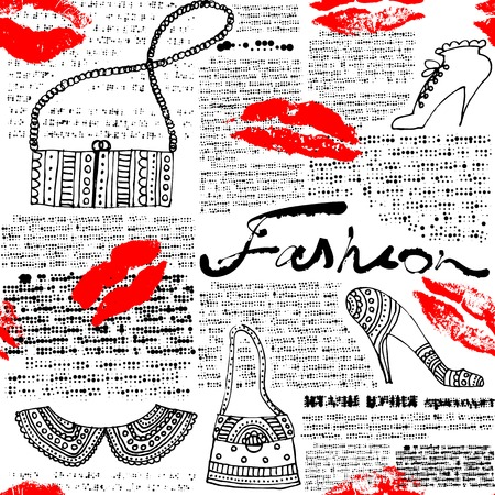 Seamless background pattern. Newspaper pattern Fashion with lips