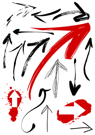 finger pointing up: Set of grunge arrows. Original pain brush.