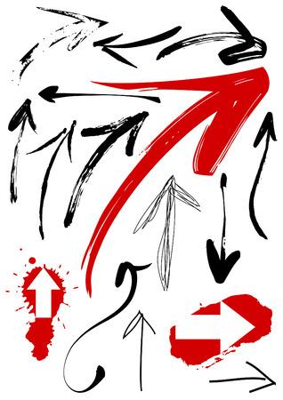 Set of grunge arrows. Original pain brush. Vector