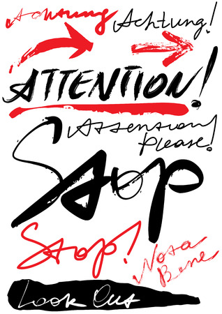 Set of original inscriptions, stop, danger, attention