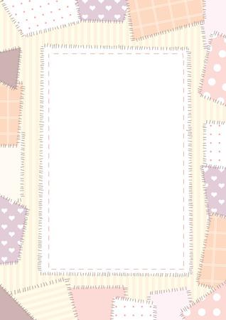 a4 borders: Vertical fondo borbered con elemets patchwork rosa Vectores