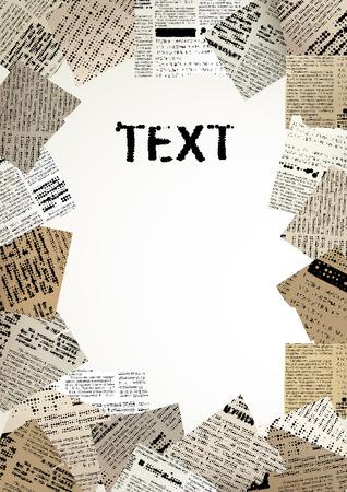vector raster background: Scrap bordered vertical background. Rastered text unreadabled. Illustration